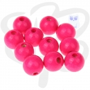 30 Holzperlen 10mm in NEON PINK